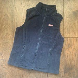 Vineyard Vines Navy Blue Fleece Zip Up Vest Jacket